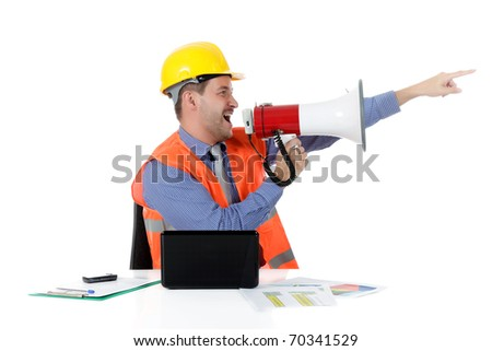 Young attractive caucasian man architect with helmet at office with laptop, yelling at megaphone. Studio shot. White background. - stock photo