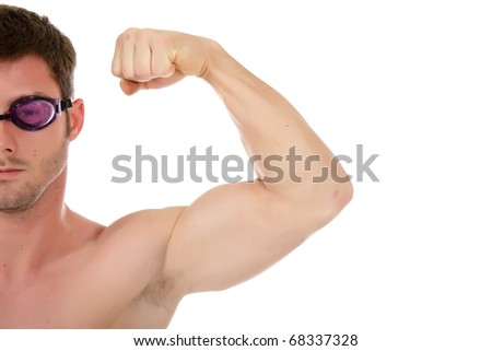 Young attractive caucasian man swimmer with goggles showing muscle. Arm and half face. Studio shot. White background. - stock photo