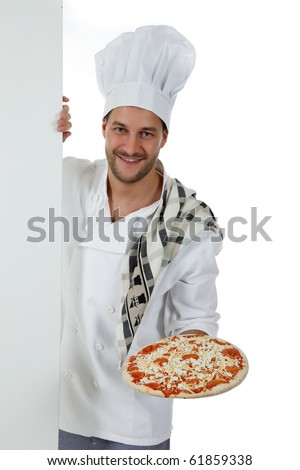 Young attractive chef male with hat and white uniform showing a pizza. Studio shot. White background. - stock photo