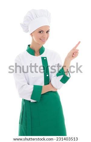 young attractive chef woman showing or presenting something isolated on white background - stock photo