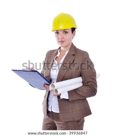Young attractive engineers with blueprints - stock photo