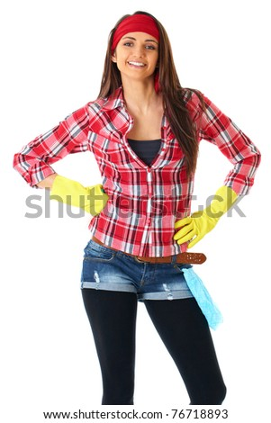 young attractive female cleaner in yellow gloves and red shirt, isolated on white - stock photo