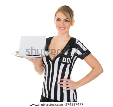 Young Attractive Female Referee Carrying Blank Card On Tray - stock photo