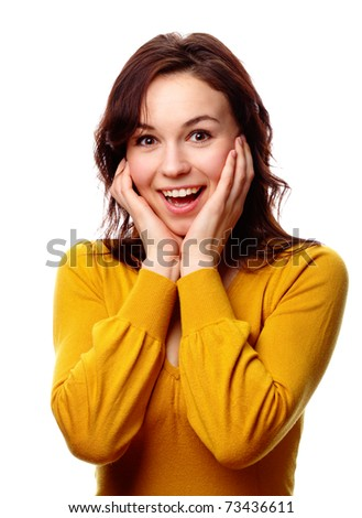 Young attractive girl holding her face in astonishment, isolated over white - stock photo