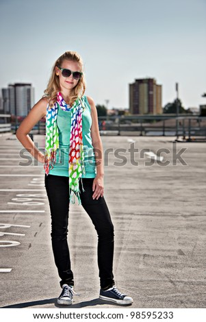 Young attractive girl posing - stock photo