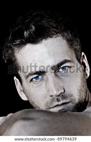 young attractive man closeup portrait of sensual - stock photo