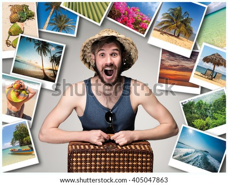 Young, attractive man wtih suitcase ready to travel as tourist on gray background. Collage - stock photo