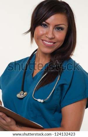 Young attractive native american medical professional - stock photo