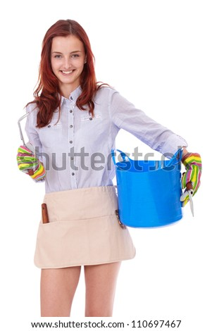Young attractive smiling happy gardening girl bowl and gloves, isolated on white - stock photo