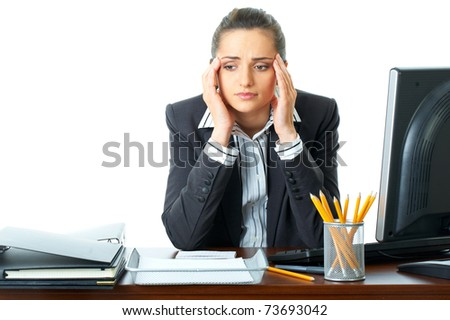 young attractive stressed and depressed office worker, isolated on white background - stock photo