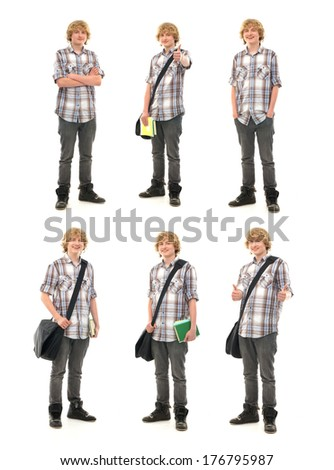 Young attractive teenage boy isolated on white - Collection of many different photos - stock photo