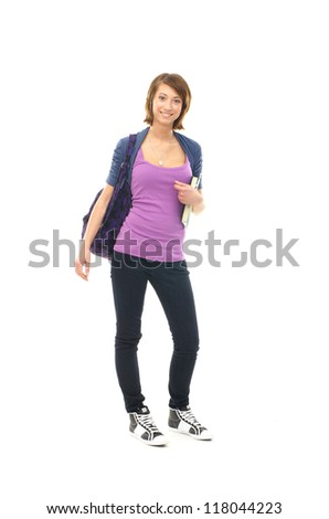 Young attractive teenage girl isolated on white - stock photo
