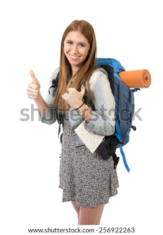 young attractive tourist woman smiling happy carrying backpack and city map ready for excursion on holidays tourism and vacation travel concept isolated on white background - stock photo