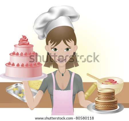 Young attractive woman holding two cakes. One pink one chocolate with chef hat and baking utensils - stock photo