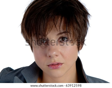 Young attractive woman in jacket with short haircut - stock photo
