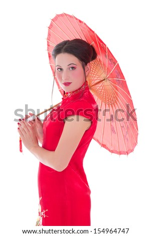 young attractive woman in red japanese dress with umbrella isolated on white background - stock photo