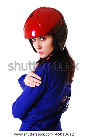 Young attractive woman in red motorcycle helmet. - stock photo