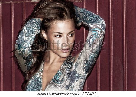 young attractive woman portrait, outside shot - stock photo