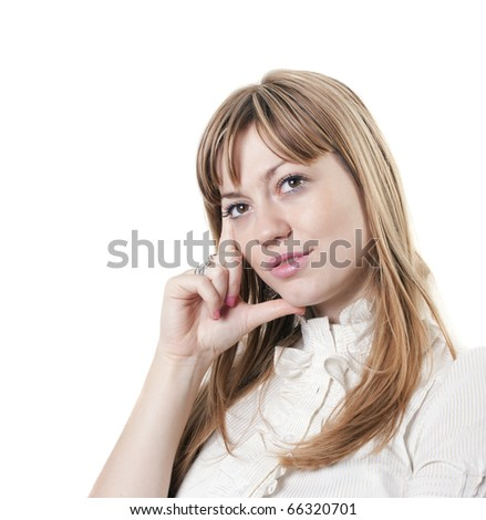 young attractive woman thinking - stock photo