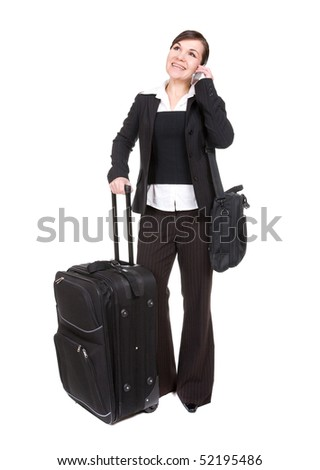 young attractive woman traveling with suitcase - stock photo