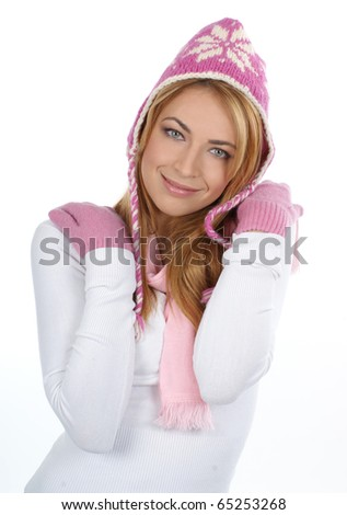 Young attractive woman wearing winter dress - stock photo