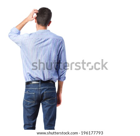 young back man doubting - stock photo