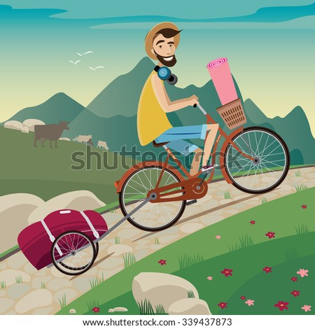 Young backpacker on a bicycle in the cycling tour in the mountains | side view | nice landscape with animals on background | raster version - stock photo