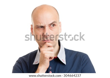 young bald man doubting isolated on white background - stock photo