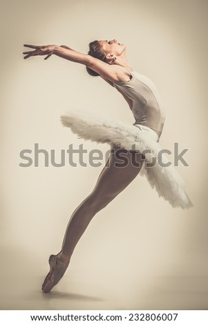 Young ballerina dancer in tutu showing her techniques  - stock photo