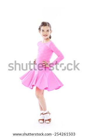 young ballroom dancer girl with a beautiful dress on a white isolated background - stock photo
