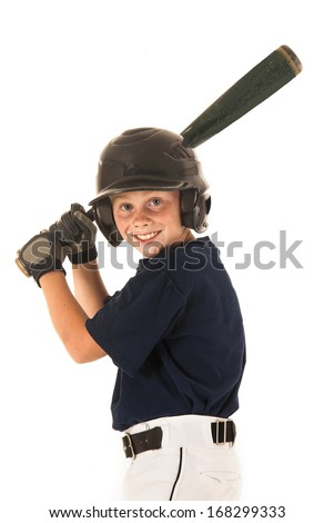 young baseball player batting right handed smiling  - stock photo