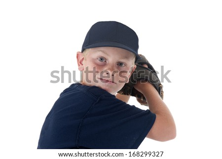 young baseball player portrait pitching left handed - stock photo