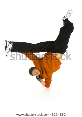 Young bboy standing on one elbow. Holding legs in air. Looking at camera. Isolated on white in studio. Front view, whole body - stock photo