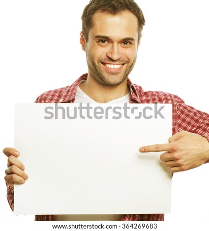 young bearded man showing blank signboard - stock photo