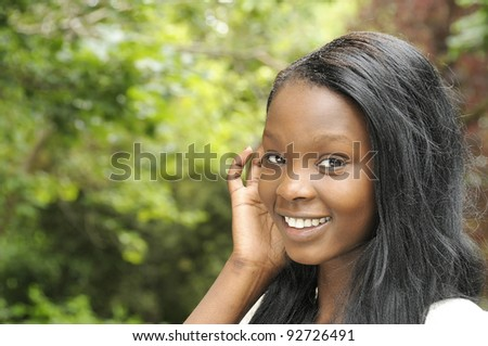 Young beautiful African descent woman - stock photo