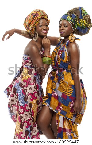 Young beautiful African fashion models in traditional dress. - stock photo