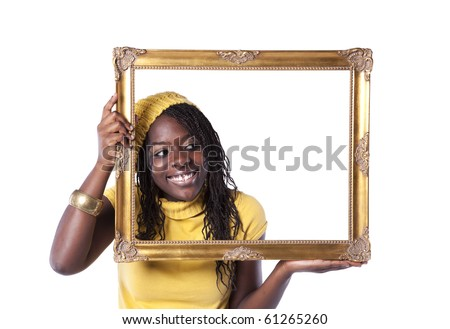 young beautiful african woman inside an antique picture frame (isolated on white) - stock photo