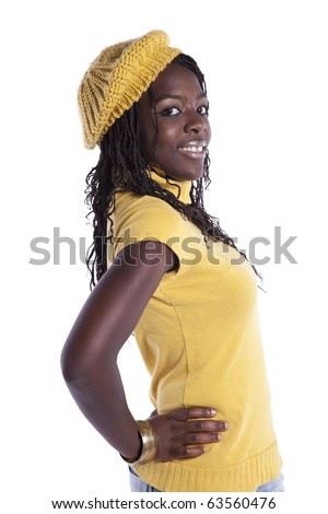 young beautiful african woman (isolated on white) - stock photo
