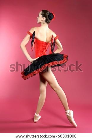 young beautiful ballerina - stock photo