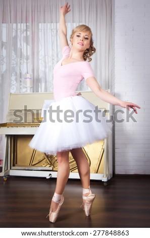 Young beautiful ballerina posing in dance studio - stock photo