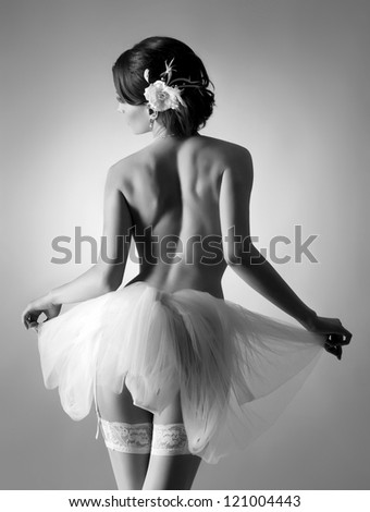 Young beautiful ballet dancer - stock photo