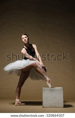Young beautiful ballet dancer in white tutu posing on a studio background - stock photo
