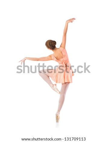 Young beautiful ballet dancer isolated over white background - stock photo