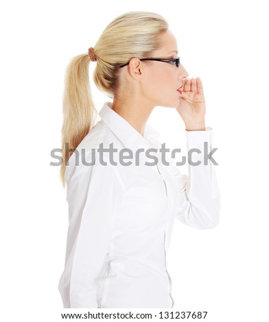 Young beautiful blond businesswoman talking gossip , isolated on white - stock photo