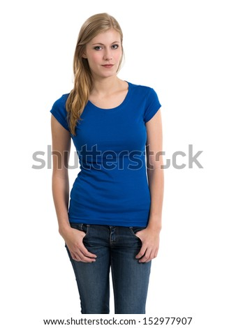 Young beautiful blond female with blank blue shirt. Ready for your design or artwork. - stock photo