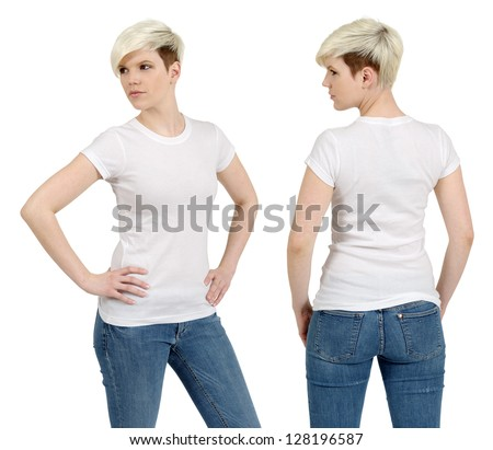 Young beautiful blond female with blank white shirt, front and back. Ready for your design or artwork. - stock photo