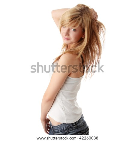 Young beautiful blond teen girl isolated on white - stock photo