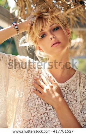 Young beautiful blonde girl - stock photo