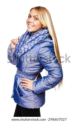 """Young beautiful blonde girl in a blue jacket with a collar, made in the style of """"braid""""  - stock photo"""