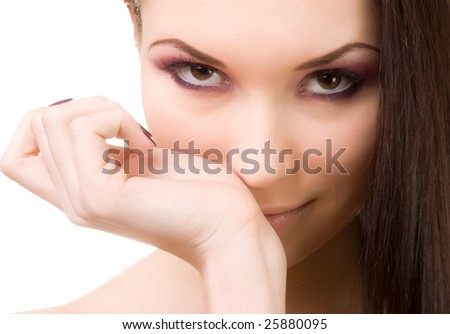 Young beautiful brunette girl - stock photo